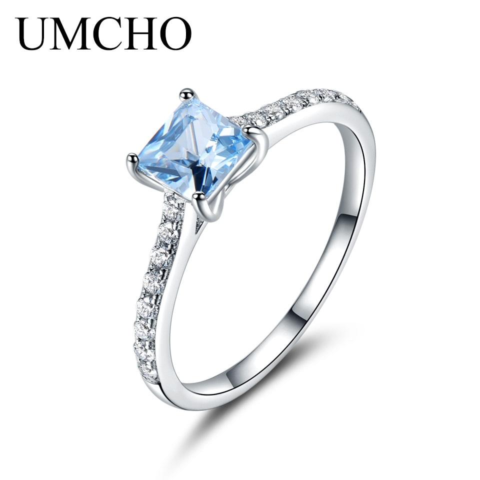 UMCHO Sky Blue Topaz Anillos Para Mujeres Sólido Real 925 Plata - Joyas - foto 3
