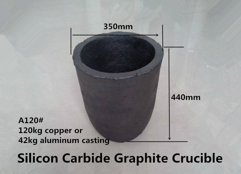 A120#  sic graphite crucible for 120kg copper and 42kg aluminum casting /gold melting pot