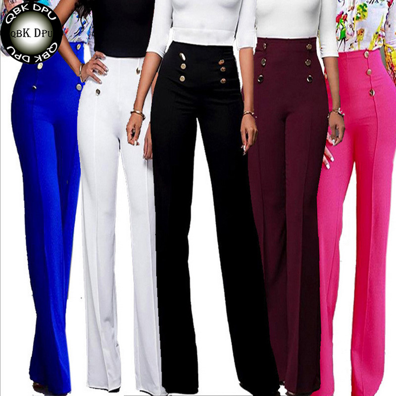 Colored Fashion Women Spring Summer Party Mid Waist Slim Fit Solid Stretchy Bell Bottom Flare Trousers Wide Leg Palazzo Pants