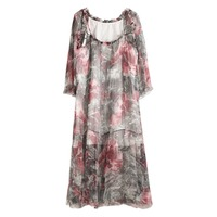 Summer Women's Silk Long Nightgowns Floral Short Three Quarter Sleeve Sleepwear Royal Roupas De Dormir Femininas Home Wear 028