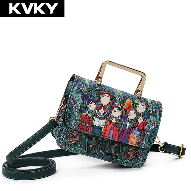 d2e3db716e KVKY Brand Fashion Forest Designer Women Handbag Prints Leather Small Messenger  Bag Female Shoulder Bag Ladies