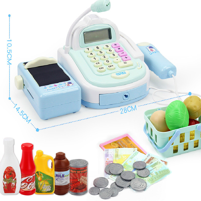 Mini Simulation Supermarket Checkout Counter Foods Goods Toys Kids Pretend Play Shopping Cash Register Set Toy For Girl's Gift Lahore