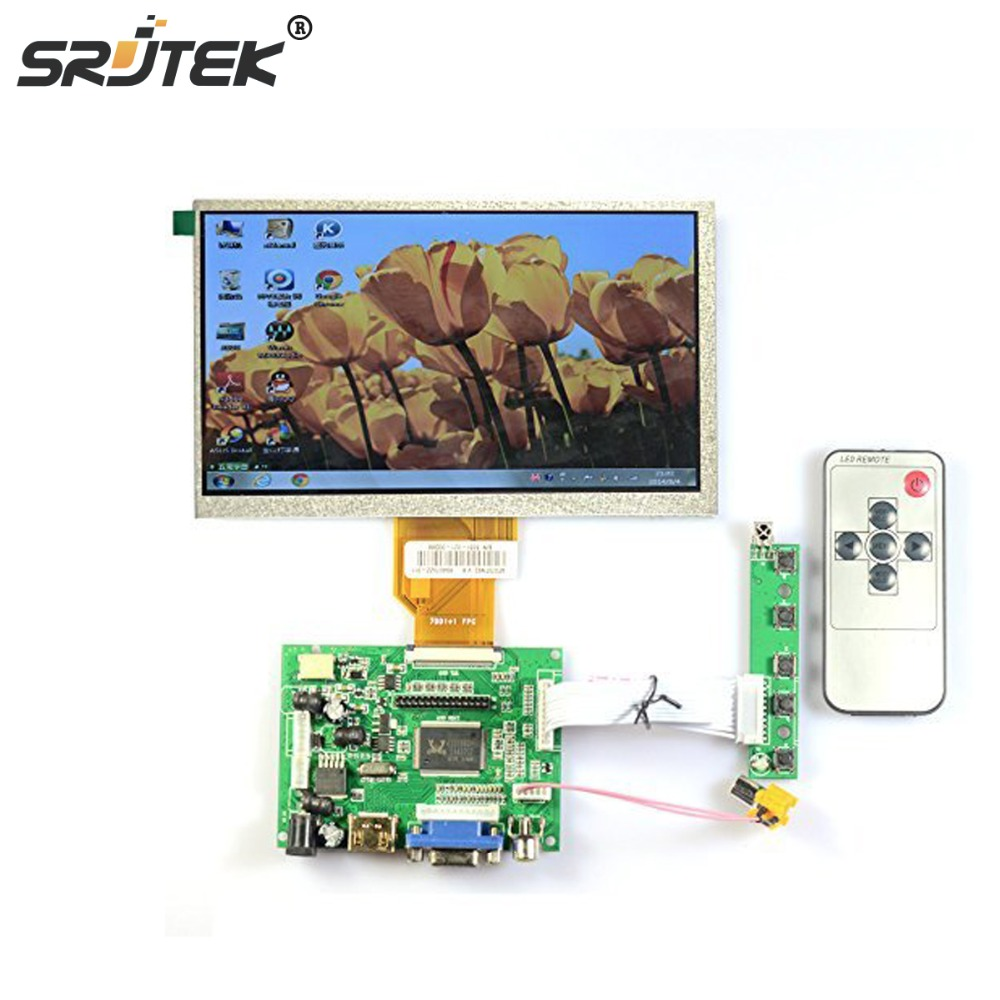 Srjtek for INNOLUX 7.0 inch Raspberry Pi LCD Display Screen TFT LCD Monitor For AT070TN90 + Kit HDMI VGA Input Driver Board skylarpu 7 inch raspberry pi lcd screen tft monitor for at070tn90 with hdmi vga input driver board controller without touch