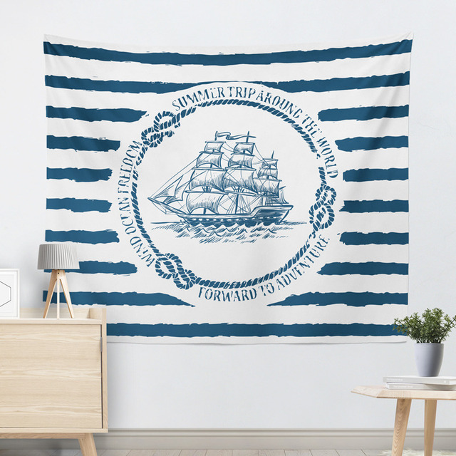 Marine Style Striped Wall Tapestry 5