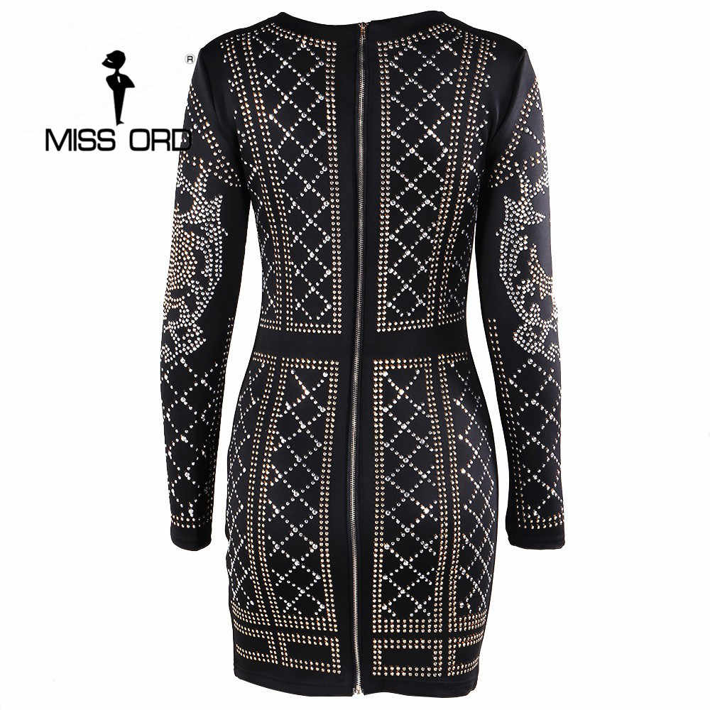 Missord 2020 סקסי O-צוואר ארוך שרוולים גיאומטרי כסף וזהב משובץ קטיפה שמלת FT3610 ריינסטון