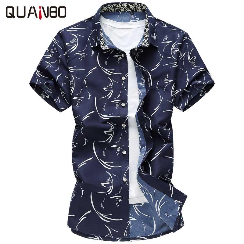 QUANBO 2018 New Arrival Summer Casual Plus Size Print Shirts Short Sleeve Men Slim Fit Shirt 6XL 7XL Camisa Masculina Hawaii Bea