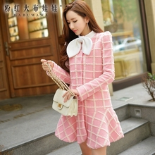 original 2017 high quality winter thick warm pink plaid stand fashion new slim middle long skirt bow coat female