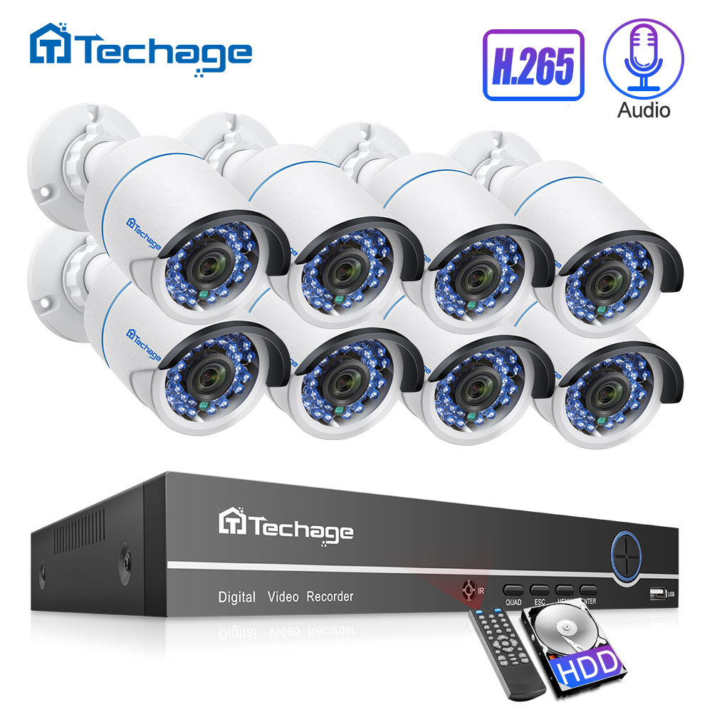 H.265 8CH 1080P 2.0MP NVR-kit POE-beveiligingssysteem Tot 16CH Audio IP-camera IR Outdoor Waterdichte CCTV-videobewakingsset