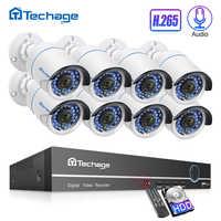 H.265 8CH 1080P 2.0MP NVR Kit sistema de seguridad POE hasta 16CH Audio IP Cámara IR exterior impermeable CCTV video de Vigilancia Conjunto