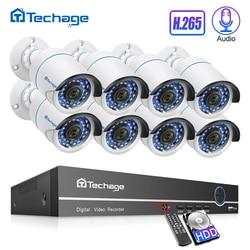 H.265 8CH 1080P 2MP POE الأمن نظام الكاميرا طقم NVR الصوت كاميرا IP IR في الهواء الطلق IP66 للماء CCTV فيديو مراقبة مجموعة