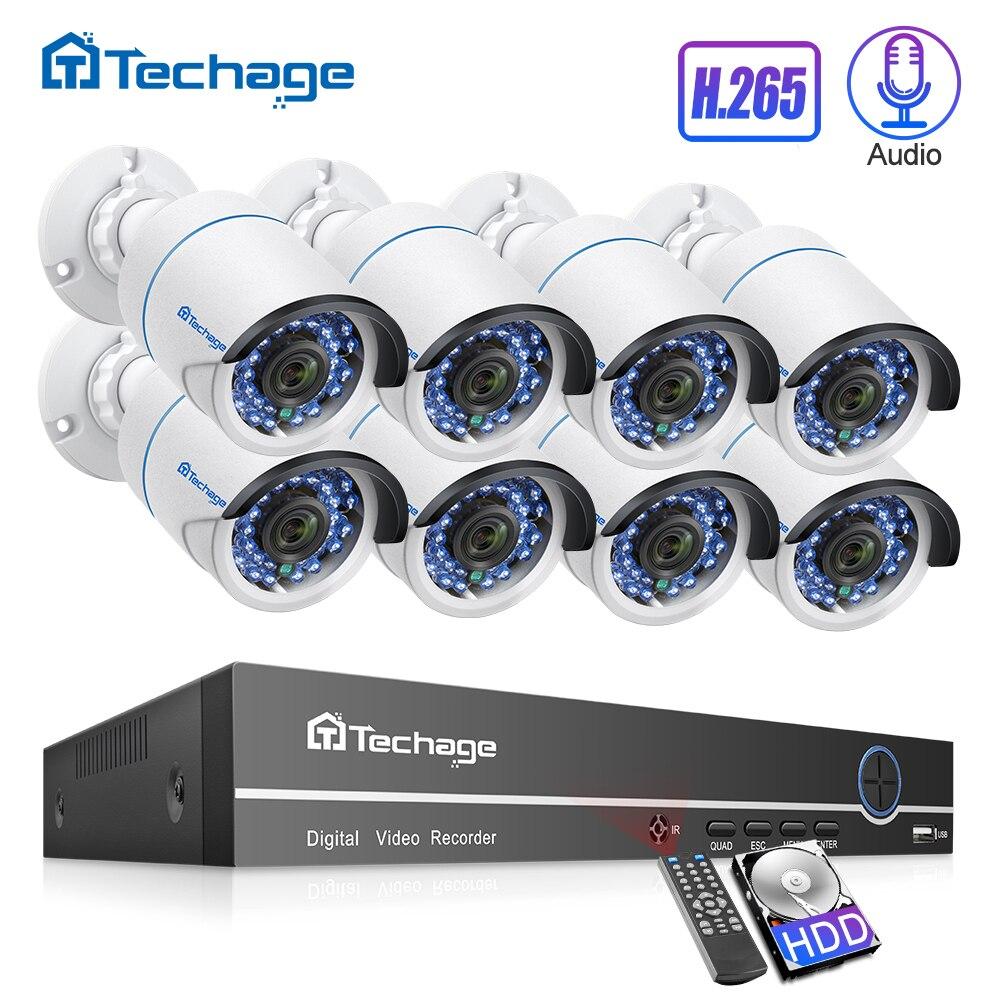 H.265 8CH Kit Sistema de Câmera de Segurança NVR POE 1080P 2MP IP66 Áudio Câmera IP IR Ao Ar Livre À Prova D' Água De Vídeo De CFTV conjunto de vigilância