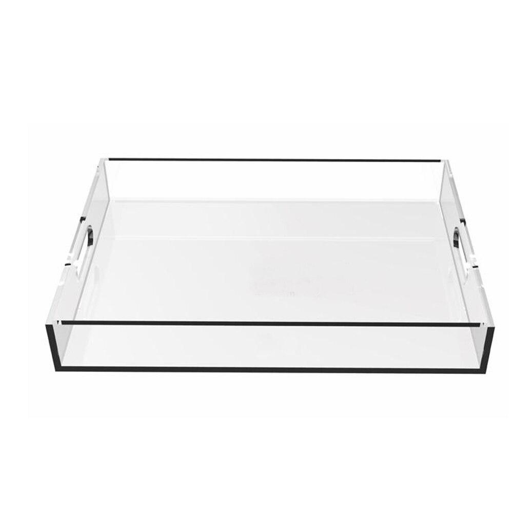 Прямоугольный прозрачный акрил сервировочные лотки с ручкой для напитков, фруктов, тортов, игрушек YAT-001-1-0