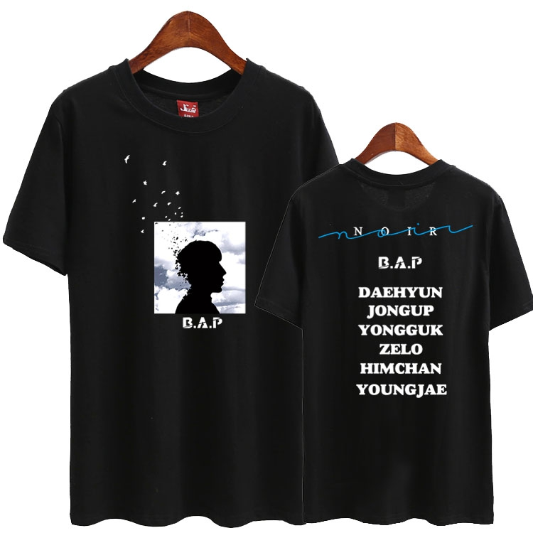 Bap second album noir all member name printing o neck short sleeve t shirt summer kpop b.a.p supportive t-shirt