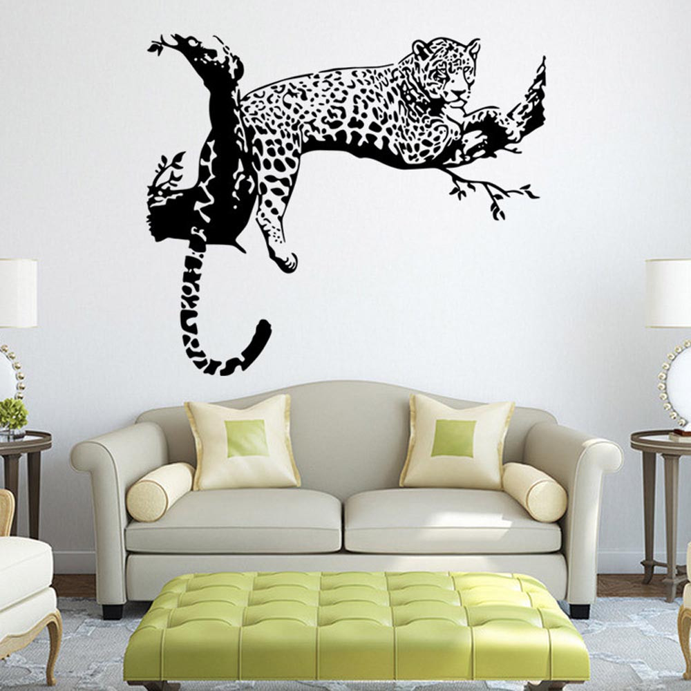Leopard Wall Stickers Living Room Bedroom Decoration Removable Poster Wallpaper Animal Large Posters In From Home Garden