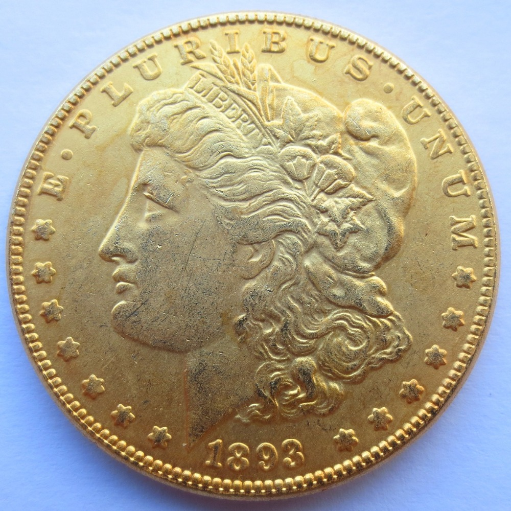 High Quality U.S. Morgan Dollars 1893-cc Gold-Plated Copy Coins Freeshipping