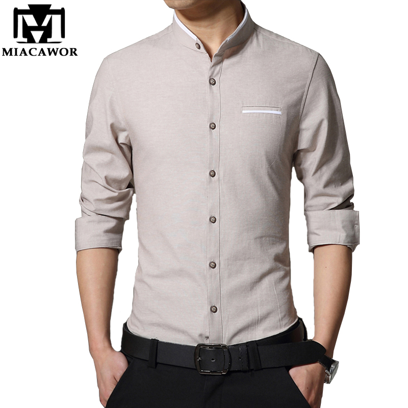 Plus Size 4Xl 2018 New Men Casual Shirt Fashion Stand Collar Mens Dress Shirts Slim Fit Long-Sleeve Camisa Masculina Mc240