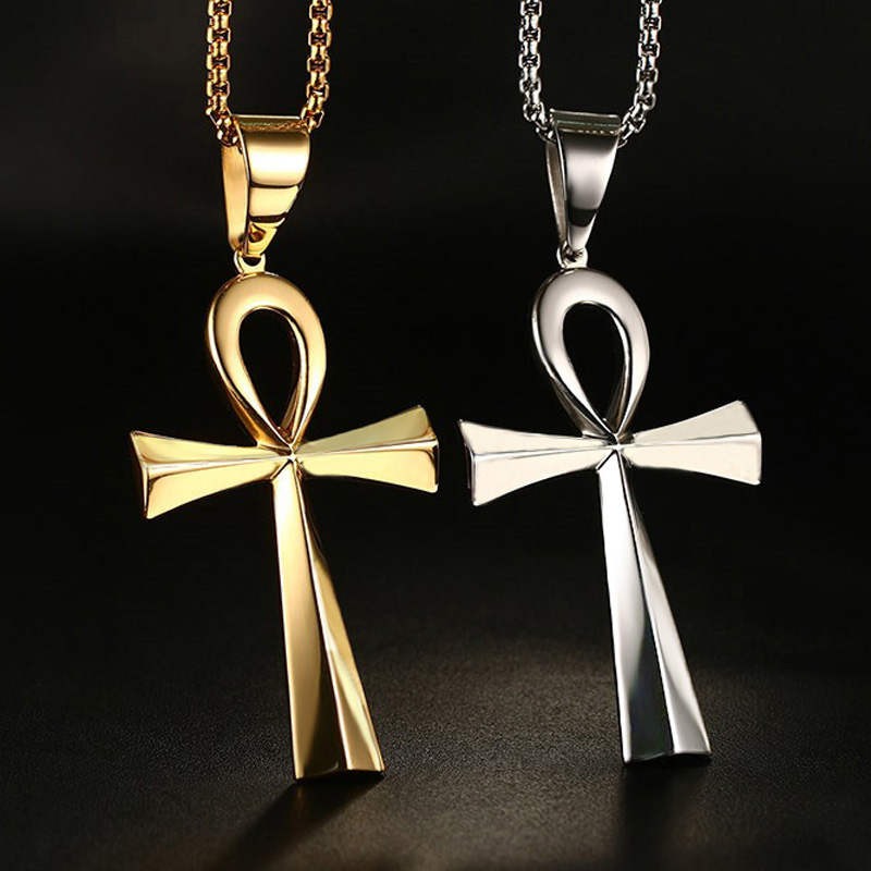 Milatu egyptian ankh cross pendant necklace stainless steel women milatu egyptian ankh cross pendant necklace stainless steel women men amulet crux ansata jewelry accessories ne251g in pendant necklaces from jewelry aloadofball Images