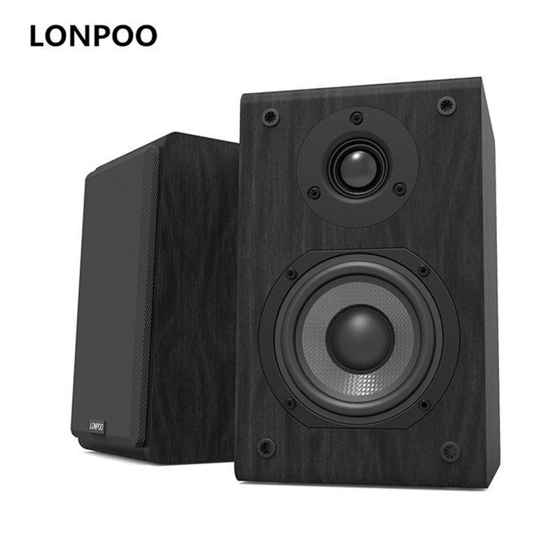 LONPOO Bookshelf Speaker Passive Pair 2 Way 75W *2 Classic Wooden Loudspeaker with 4 inch Carbon Fiber Woofer Tweeter Speaker