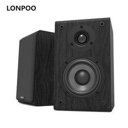 LONPOO Bookshelf Speaker Passive Pair 2-Way 75W *2 Classic Wooden Loudspeaker with 4-inch Carbon Fiber Woofer Tweeter Speaker