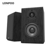 LONPOO Bookshelf Speaker Passive Pair 2 Way 75W *2 Classic Wooden Loudspeaker with 4 inch Carbon Fiber Woofer Tweeter Speaker