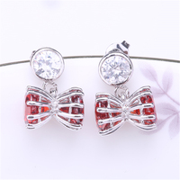 ZHE FAN Trendy Stud Earrings Double Shine AAA Cubic Zirconia Brand Jewelry Unique Geometric Women Men