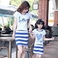 2017 летний стиль мать и дочь платья хлопок семья clothing смотреть мама и дочь платье футболка + жилет платье