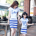 2017 summer style mother and daughter dresses cotton family clothing look mom and daughter dress t-shirt+vest dress