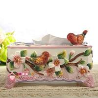 ceramic red bird tissue box Case home decor crafts room decoration paper holder ornament porcelain figurines wedding decoration