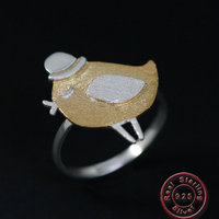 Amxiu 100% 925 Silver Hat Bird Ring Adjustable Open Rings For Women Girls Birthday Party Gifts Accessories 2019 Fashion Jewelry