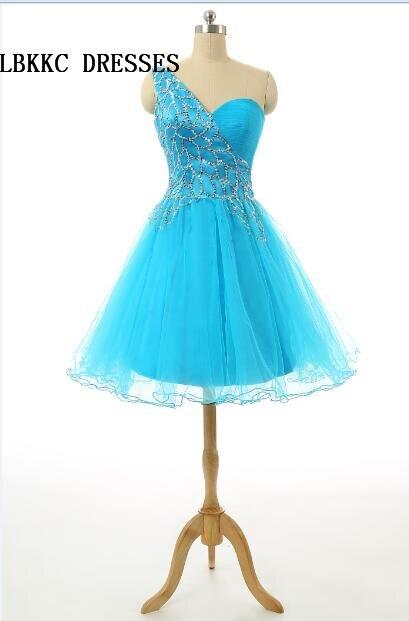 Short Blue   Cocktail     Dresses   Tulle With Beaded Vestido De Festa Knee Length   Cocktail   Party   Dress