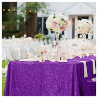 ShinyBeauty Purple 3.3m Square Sequin Table Overlay 132 Inch Square Glitter Table Linen For Wedding Decoration