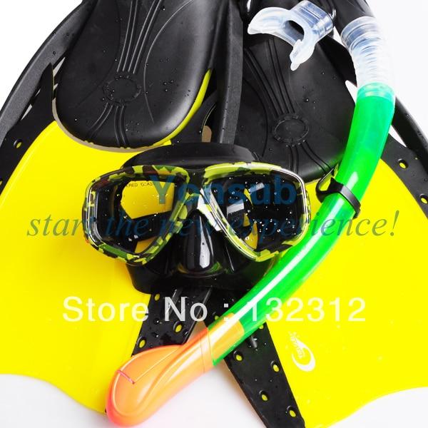 Scuba Diving Equipment Diving Mask +Fins Dry Snorkel Set Scuba Snorkeling