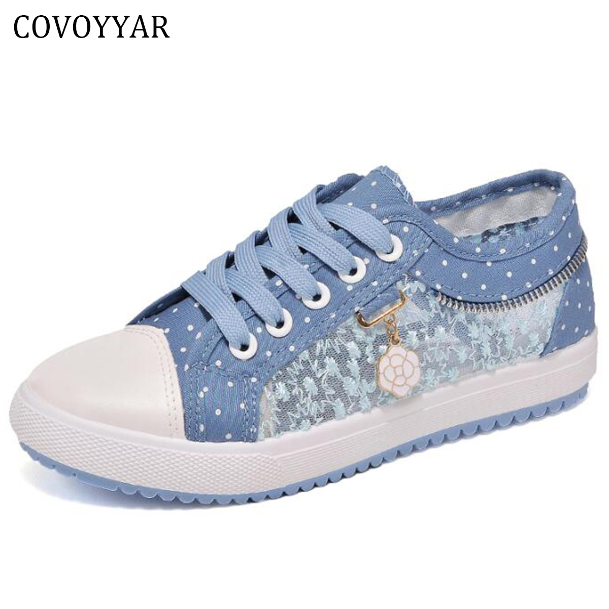 COVOYYAR 2018 Breathable Women Canvas Shoes Summer Autumn Lace Cut Out Lady Casual Shoes Cute Dot Women Flats WSN154