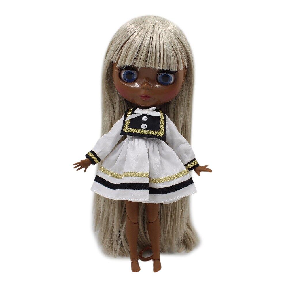 fortune days factory blyth doll super black skin tone darkest skin 280BL8003 grey straight hair 30cm 1/6 fortune days factory blyth doll super black skin tone darkest skin dark brown hair joint body 1 6 30cm bl0521