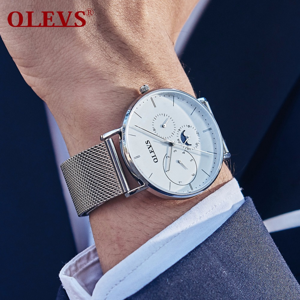 OLEVS Big Dial Watches Men Moon phase Men Watches Top Brand Luxury Quartz Watch Man Leather Sport Wrist Watch Clock relogio saat olevs big dial watches men moon phase men watches top brand luxury quartz watch man leather sport wrist watch clock relogio saat