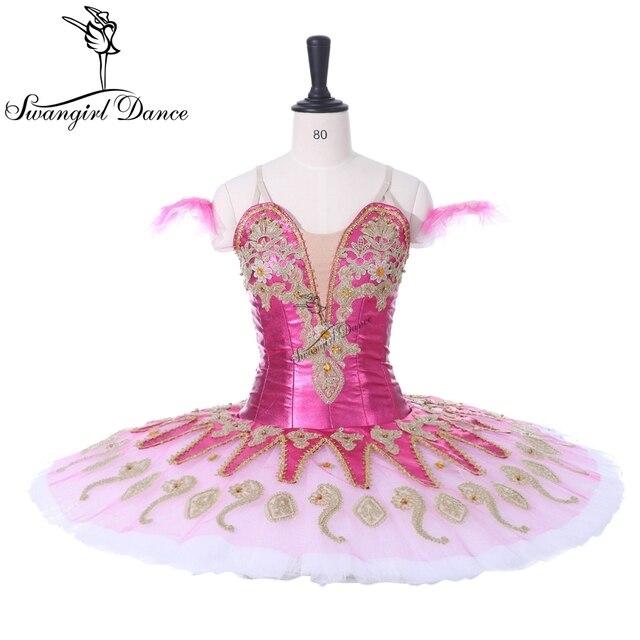 Newtest Rose Red Professional Tutu Nutcracker Stage Cosutmes Tutus Girls Pink Fairy Classical Pancake Tutu Dress 8colors BT9134G