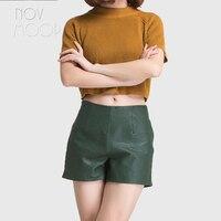 Korean style women black red green genuine leather real lambskin pebbled leather shorts high waist short feminino cropped LT2312