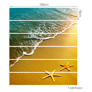 Image 2 - Sun Sandy Beach Seastar Waves DIY Steps Stairs Stickers Posters Removable Stair Decal PVC Sticker Poster Home Decor Decoration
