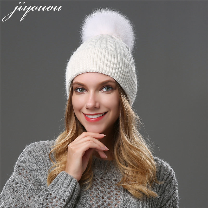 2017 fox fur ball cap pom pom raccoon winter beanie hats wool hat Solid color Cap for women Rabbit gorro feminino inverno new winter beanies solid color hat unisex warm soft beanie knit cap winter hats knitted touca gorro caps for men women