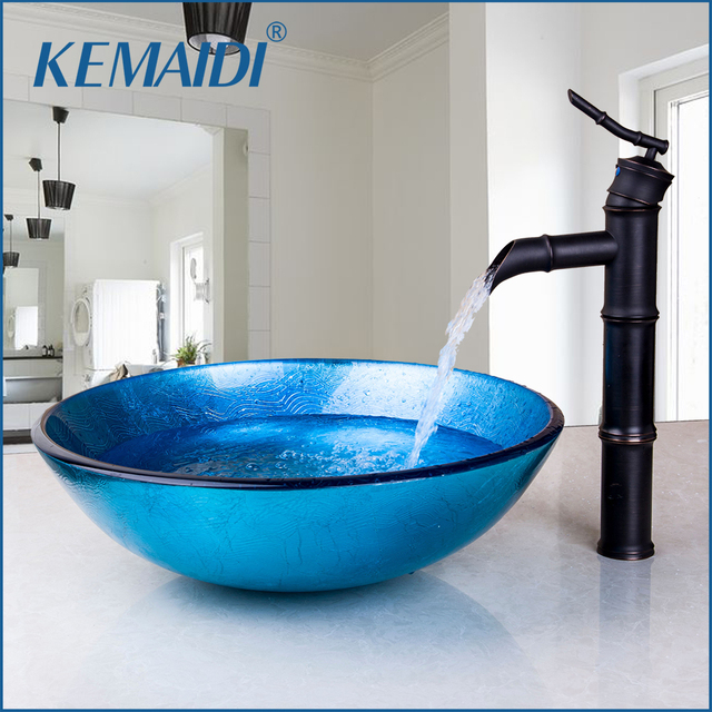 Beau KEMAIDI Bathroom Wash Basin Mixer Round Tempered Glass Vessel Sink With  Black Bathroom Faucet Hand Painted