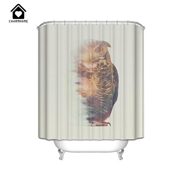 charmhome duschvorhang bad vorhang wasserdichte schneewei eule auf einem ast umweltfreundliche stoff dusche vorhang - Stoff Vorhang Dusche