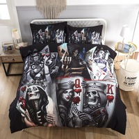 3PCS 3D Skull Playing cards QK Bedding Set With Pillowcases Duvet/Quilt/Comforter Cover Queen King Size Bedspreads