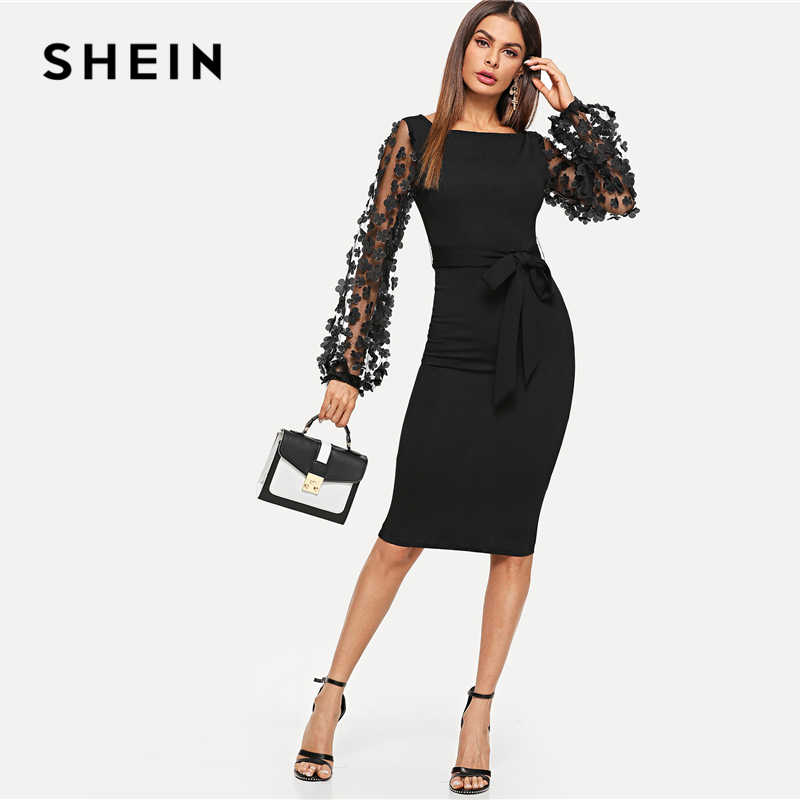f38a9df11c1c ... SHEIN Black Party Elegant Flower Applique Contrast Mesh Sleeve Form  Fitting Belted Solid Dress Autumn Women ...