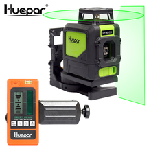Huepar مستوى الليزر الأخضر شعاع عبر الليزر الذاتي الإستواء 360 درجة مع 2 Pluse و طرق + Huepar الرقمية LCD الليزر استقبال كاشف