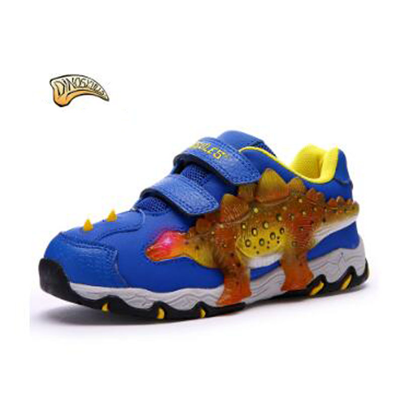 Autumn Winter New Fashionable Children Sneakers Boys Girls Leisure Sports Running Shoes Glowing Kids Shoes 3D Dinosaur Shoes