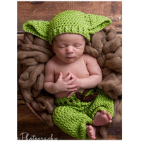 Crochet Hat Newborn Baby Props Green Cap Pants Costume Set Photography Props Hand Knit Winter Hat