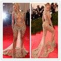 Met Gala 2015 Vestidos de La Celebridad de Beyonce Sexy Opacidad de Manga Larga Totalmente MGC04 Pesado Partida Por la Noche Vestidos de Noche