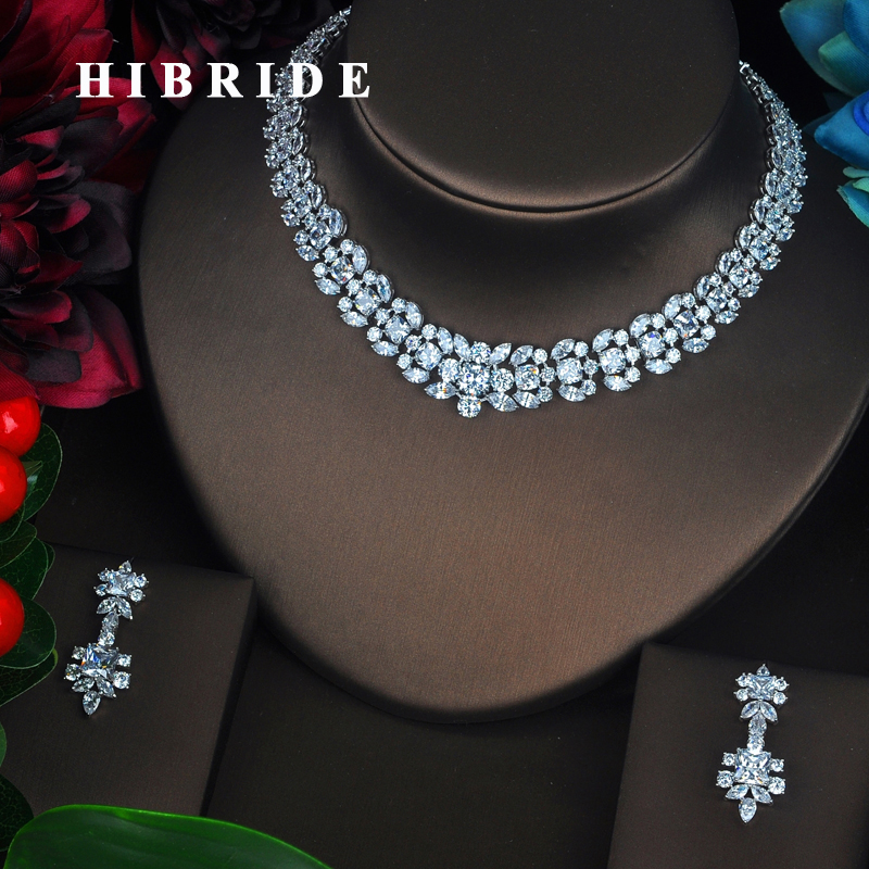 HIBRIDE Luxury Elegant Full CZ Stone Bridal Jewelry Sets For Women 2 PCS Necklace Set Wedding Jewelry Dress Accessories N-380HIBRIDE Luxury Elegant Full CZ Stone Bridal Jewelry Sets For Women 2 PCS Necklace Set Wedding Jewelry Dress Accessories N-380