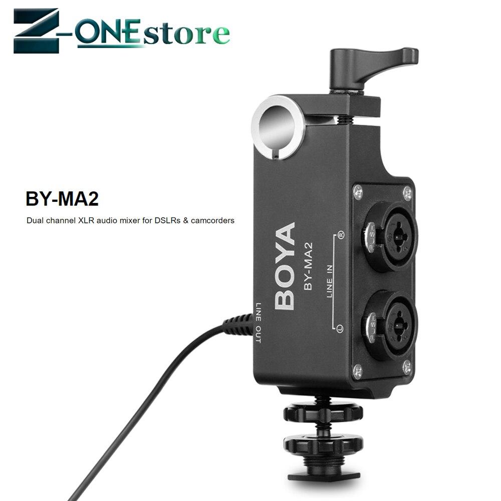 BOYA BY-MA2 double canal XLR mélangeur Audio avec entrée 6.35mm prise 3.5mm pour Canon Nikon DSLR caméscopes système de Microphone sans fil