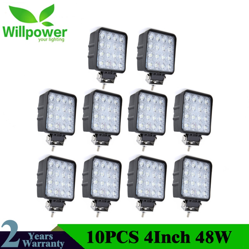 Square Flood Beam 10 PCS IP67 Waterproof Spot Beam Offroad Truck 4x4 Led Driving Light 48w